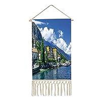 掛ける絵 可愛い グッズ 軸物 壁掛け イタリアの装飾 コモ湖の山々と雲のデジタル画像 多機能 個性 壁アート 装飾画 人気 おしゃれ 青と緑のパノラマ風景