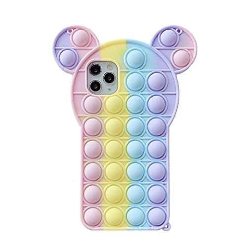 ZOVCO Funda para teléfono Fidget 1 unidad, funda protectora de silicona para teléfono con burbujas de juguete de alivio de estrés, funda protectora de silicona para iPhone (Mickey Mouse, iPhone XSMAX)