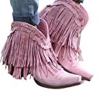 Ladies Ankle Boots, Vintage Fringed Leather Short Boots, Square Toe Cut-on Faux Fur Lining, Winter Chunky Block High-Heeled Women's Boots,Pink,37