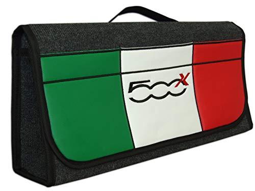 Borsa portaoggetti per bagagliaio auto, con bandiera italiana, tasca frontale in similpelle per 500 X