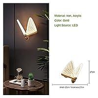 シャンデリア Ins Wind Iron Art Gold Baseアクリル 導いたリビングルームの装飾的なバタフライシャンデリアテーブルの床の光に適した光源 (Body Color : White, Lampshade Color : Wall lamp)