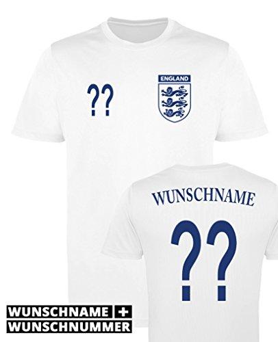Comedy Shirts England Trikot - Wunsch - Herren Trikot - Weiss/Navy Gr. 3XL
