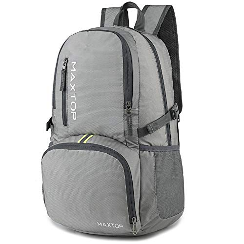 MAXTOP Lightweight Packable Backpack for Traveling & Hiking - Durable Foldable Outdoor Travel Daypack for Men & Women (Grey, 30L)