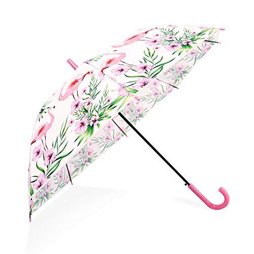 Flamingo-Regenschirm Halbautomatischer Regenschirm mit gefrostetem Flamingo-Druck Dome Bubble Umbrella Winddicht und Regenschutz Geeignet für Hochzeiten (Leuchtend rosa)