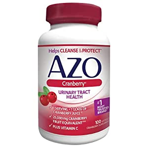 AZO Cranberry Urinary Tract Health Dietary Supplement, 1 Serving = 1 Glass of Cranberry Juice, Sugar Free, 100 Count from Azo