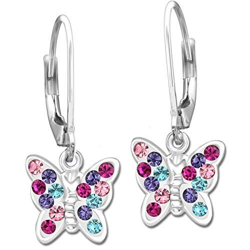 Mädchen Ohrhänger echt 925 Sterling Silber mit Zirkonia Kinder Ohrringe Schmetterlinge Brisur K649