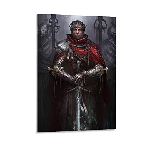 DRAGON VINES Póster de King Arthur Espada Caballeros de la Mesa Redonda, líder Batalla de las Bestias, arte de fantasía para niños, lienzo de 60 x 90 cm