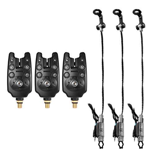 FFSMCQ Angeln Bissanzeiger Set-Digital-Fischerei Alarm Kit Led Alarmanzeige Alarmglocke Angeln Swinger Mit Reißverschluss Box,6Pcs