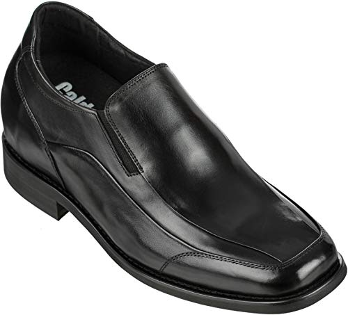 Calden Men's Invisible Height Increasing Elevator Shoes - Black Leather Slip-on Lightweight Dress Loafers - 3 Inches Taller - K333011 - Size 6 D(M) US