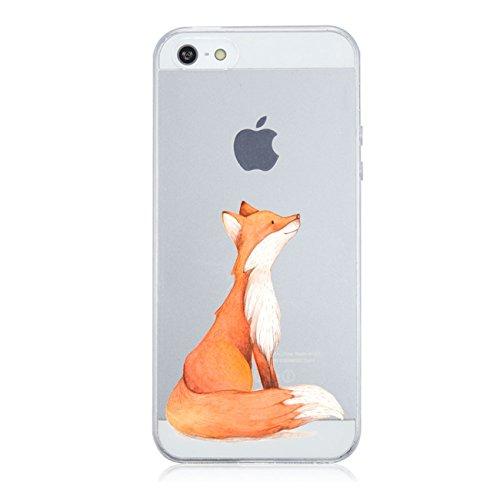Caler Kompatibel mit / Ersatz für Hülle iPhone SE/5S/5 Hülle Weiche flexible Silikon-Handy-Hülle Transparente Ultra Slim TPU dünne Motiv Tasche Etui Hülle Cover (fuchs)