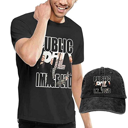 Herren Kurzarmshirt Mens Particular Public Image Ltd Tee and Washed Denim Hat Casquette Black
