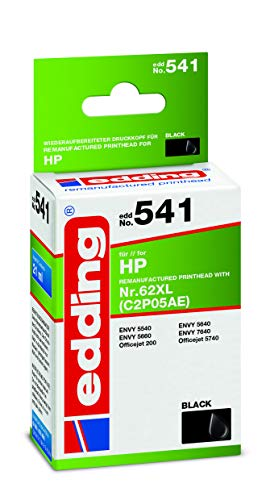 Edding Tintenpatrone Edd-541 Ersetzt HP 62XL (C2P05AE) - Schwarz - 21 ml
