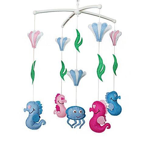 Jouets éducatifs Décor de chambre d'enfant Design cousu à la main décoration de lit de bébé cadeau mobile pour nouveau-né Mobile musical pour 0-1 ans (hippocampe)