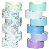 Yubbaex Washi Tape Set 12 Rollos cinta adhesiva decorativa Washi Glitter Adhesivo de Cinta Decorativa para DIY Crafts Scrapbooking 15mm de ancho (Azul Mezcla)