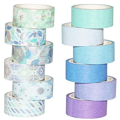Yubbaex 12 Rollen Washi Tape Set Masking Tape Dekoratives Klebeband Blau gemischt