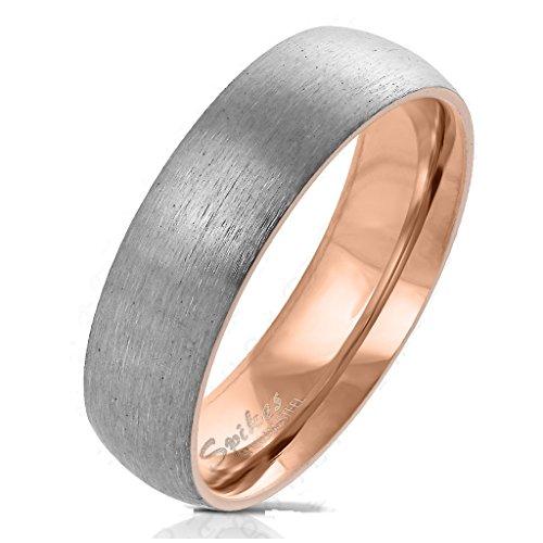 Paula & Fritz® Gebürsteter Titan-Ring Titanium 6mm breit Damen-Ring Verlobungs-Ring Freundschaftsring Herrenring Partnerring roségold 57 (17)