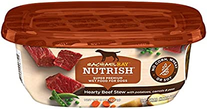 Rachael Ray Nutrish Premium Natural Wet Dog Food, Beef Stew with Potatoes, Carrots & Peas, 8 Ounce Tub (Pack of 8)
