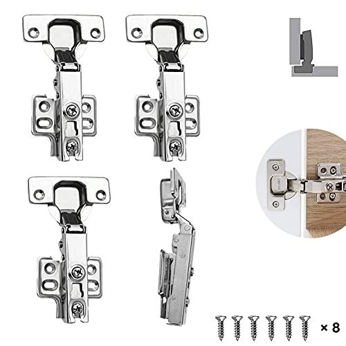 Amortiguación Integrada Bisagra con Mecanismo de Suave Lento Cierre Amortiguadores para Puerta de Empotrado Mueble Armario de Cocina (4 unidades,cierre suave)