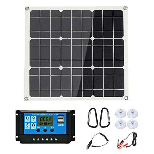 Gaoominy Kit de Panel Solar de 200 Vatios 200 Vatios con Controlador Solar LCD 12V RV Barco Fuera de la Red