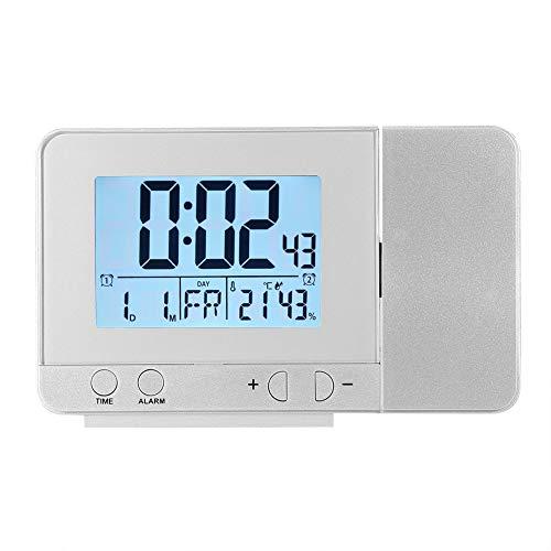 Digitaler Wecker mit Projektion, LED, multifunktional, Uhrzeit, Datum, Woche, Temperatur, USB-Port, Ladung für Innenbereich, Schlafzimmer, Büro (Silber)