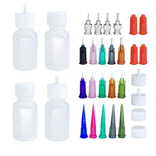 XMASIR Nadelflaschen, Mehrzweck DIY Präzisionsspitzen Applikator Flaschen Set, 4 Flaschen mit 16 Mündernadelspitzen für Papierquilling DIY Craft Tattoo Jam Malerei, Malerei Kunstwerk Hobbys