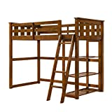 Better Homes and Gardens Loft Storage Bed with Spacious Storage Shelves, Multiple Finishes, (60 x 79 x 64, Espress)