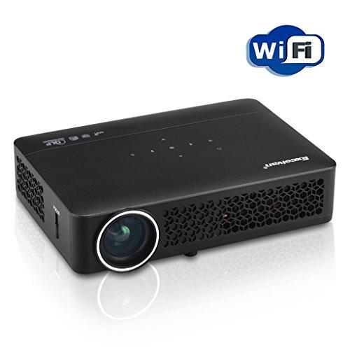 Excelvan DLP 800WM Mini Proiettore LED - Portatile Projector, Home Theater, 1080P, Durata Lampada Fino a 30,000 Ore, Blue Ray 3D, Android 4.4, WIFI / USB / AV / HDMI / VGA/ Network Interface, Nero