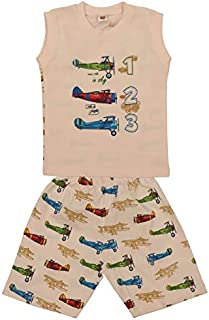 Sutifab Apricot Old Airplane Sleeveless T-Shirt with Shorts