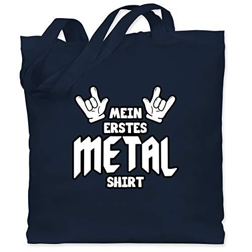 Sprüche Kind - Mein erstes Metal Shirt Comic - Unisize - Navy Blau - Spruch - WM101 - Stoffbeutel aus Baumwolle Jutebeutel lange Henkel