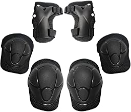 MiNiSports Kids Protective Gear 6 in 1 Set- Toddler Knee and Elbow Pads with Wrist Guards for Rollerblade Roller Skates Cycling BMX Bike Skateboard Inline Skatings Scooter Riding Sports - Black