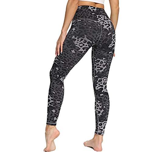 Keepwin Leggins Push Up Mujer Leopardo Camuflaje Cintura Alta Elásticos Pantalones Yoga Mujer Mallas Deportivos Mujer Entrenamiento Pantalon para Gym Fitness Running (Negro, Small)