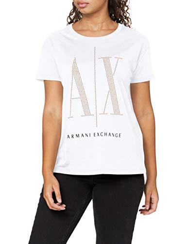 Armani Exchange T-Shirt Camiseta, White Studs, XS para Mujer