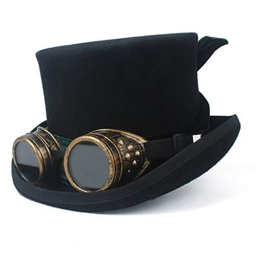 Jiangjinland wol cilinderhoed met bril Fedoras rok band-hoed voor mannen vrouwen Steampunk hoed Halloween-Cosplay hoge cilinderhoed Derby 59 cm zwart