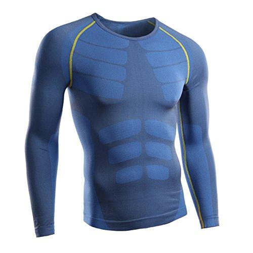 Rmine Herren Funktions Unterhemd Unterwäsche Kompressions T-Shirt (Blau-gelb, XL)