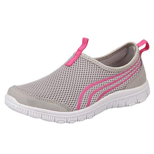 MRULIC Damen Sneaker Flache Stiefel Freizeitschuhe Fitnessschuhe Sport Leichte Laufschuhe Trainer Turnschuhe Atmungsaktive Sportschuhe Lässige Müßiggänger Weiche Schuhe(Grau,37 EU)
