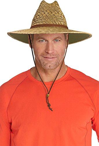 Coolibar UPF 50+ Men's Bondi Straw Beach Hat - Sun Protective (XX-Large- Natural)