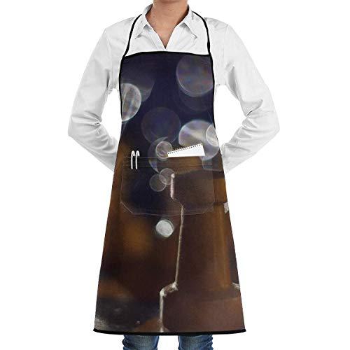 N\A Cocina Chef Delantal con Peto Imagen de ajedrez Cuello Cintura Corbata Centro Canguro Bolsillo Impermeable