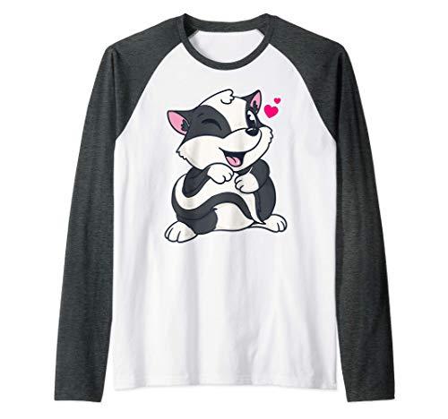 Bebé Mofeta Lindo Animal Día De San Valentín Camiseta Manga Raglan