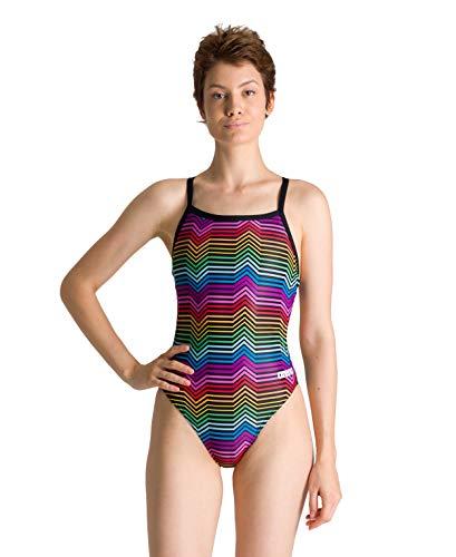 ARENA - Costume da Bagno da Donna Righe Multicolore, Donna, Costume da Bagno, 002828, Nero e Multicolore, 40