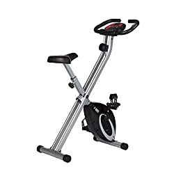 Ultrasport F-Bike, bike trainer, exercise bike, foldable fitness bike with training computer and hand pulse sensors, foldable, load capacity up to 100 kg, black