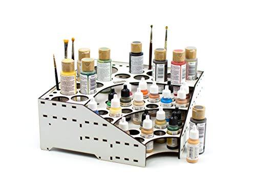 PROSCALE Soporte organizador pinturas miniaturas modelismo. Kit mesa de trabajo vallejo bote pinturas pinceles vallejo acrilico miniaturas warhammer modelismo maquetas (Modelo C)