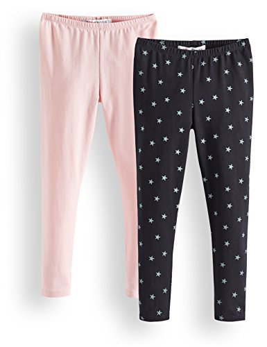 Marca Amazon - RED WAGON Leggings Niñas, Pack de 2, Multicolor (Black Coral Blush Black 14-1909 Tcx), 104, Label:4 Years