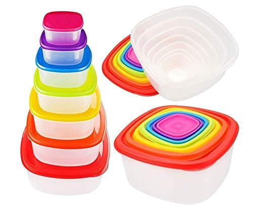 ARSUK Set di Contenitori per Alimenti Impilabile - 7 pezzi con Coperchio - Senza BPA - Adatto per Lavastoviglie, Congelatore, Microonde (7 Pezzi Arcobaleno)