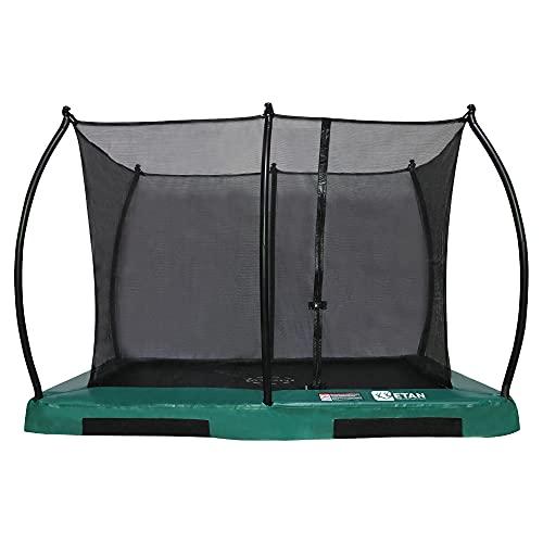 Etan Hi-Flyer Trampolino Elastico Bambini Interrato - a Terra con rete - 281 x 201 cm / 0965 ft - incl. Rete di sicurezza - Tappeto Elastico da Giardino - Verde - Rettangolare