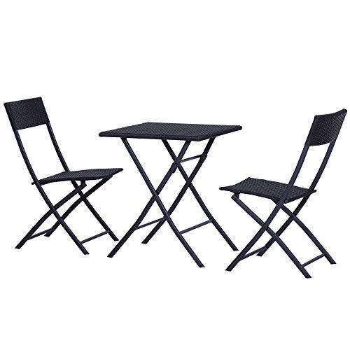 Outsunny 3 PCS PE Rattan Wicker Garden Furniture Patio Wicker Bistro Set Folding for 2 Outdoor Table and Chair Set (Black)