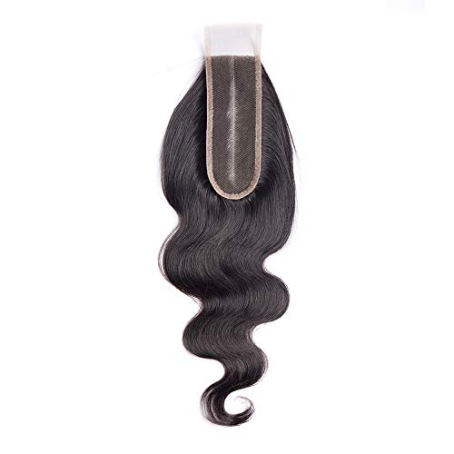 Maxine 2x6 Deep Middle Part Lace Closure Real Human Hair 9A Brazilian Virgin Remy Hair Unprocessed Body Closure with Baby Hair (10 inch£¬Natural Color)