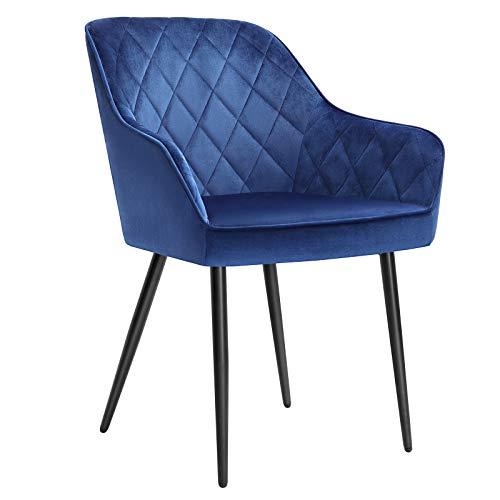 SONGMICS Esszimmerstuhl, Sessel, Polsterstuhl mit Armlehnen, Sitzbreite 49 cm, Metallbeine, Samtbezug, bis 110 kg belastbar, für Arbeitszimmer, Wohnzimmer, Schlafzimmer, blau LDC088Q01