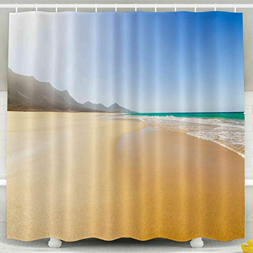 Cortina de ducha para niños, juego de cortinas de ducha con ganchos, islas de la playa España increíbles colinas del horizonte en el fondo Océano Atlántico Fuerteventura Canarias Volcánica Decoración