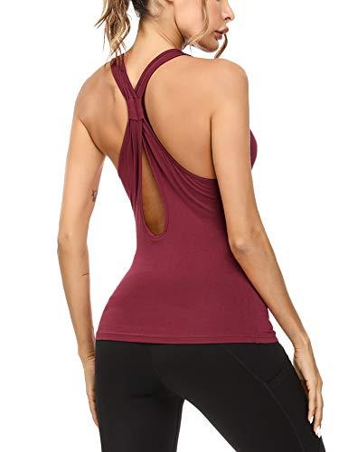 Sykooria Camiseta Deportiva Sin Mangas para Mujer Camiseta de Fitness de Tirantes de Algodón Yoga Gimnasio Correr Workout Pilates Pijamas Tank Tops