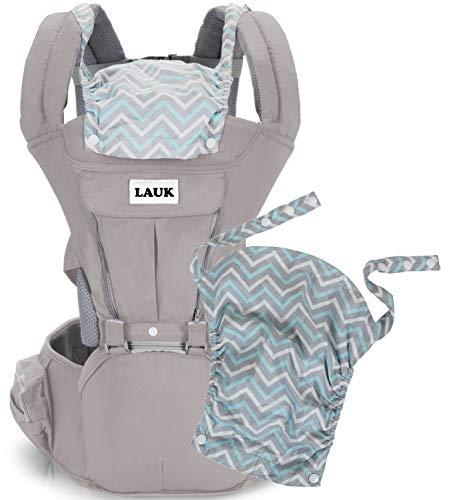 Baby-Bauchtrage Babytrage mit Hüftsitz Schadstofffrei Verstellbar Abnehmbare Kapuze für Neugeborene und Kleinkinder von 3-48 Monate (3,5 bis 20 kg), Farbe Grau